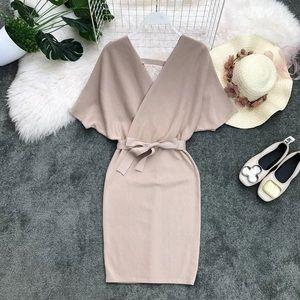 Beige kimono wrap style knit mini dress size xs